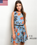 Women Spring Casual Sleeveless Mini Fit and Flare Floral Dresses with Belt