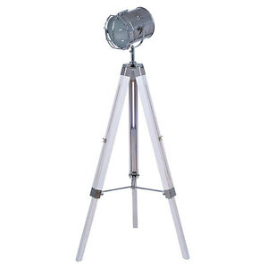 Vintageretro white wash wooden tripod spotlight floor lamp h140cm image is loading vintage retro white wash wooden tripod spotlight floor mozeypictures