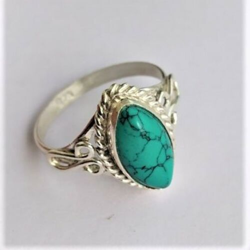 Statement Ring Taille SA1103 Turquoise 925 Sterling Silver Band Ring Méditation