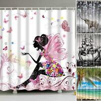 Waterproof Polyester Fabric Bathroom Shower Curtain Sheer Decor Panel 12 Hooks