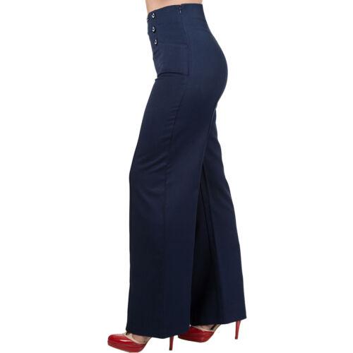 # Dancing Days Vintage Rockabilly Tessuto Pantaloni Marlene Pantaloni-Stay Awhile BLU SCURO