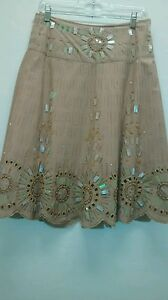 bb49fd081f4f1 Image is loading Basil-amp-Maude-Sequin-Sunburst-Beige-Full-Skirt-