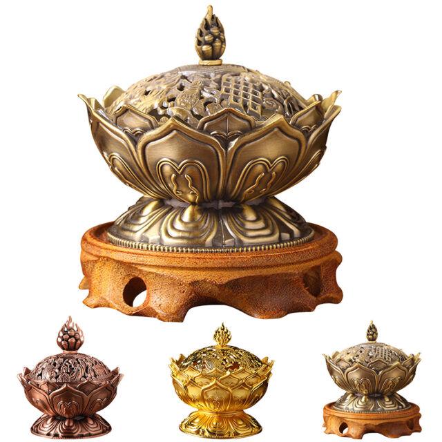 Chinese Lotus Incense Burner Holder Flower Statue Censer Room Decoration LAC~