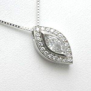 Handmade 14k marquise diamond pendant 34 carat pave slide white image is loading handmade 14k marquise diamond pendant 3 4 carat aloadofball Choice Image