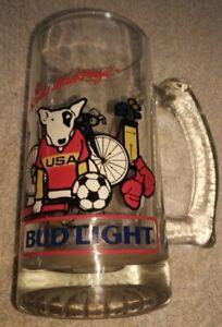 1988 Vintage Spuds Mackenzie Beer Bud Light Glass Mug Stein USA Sports olympics