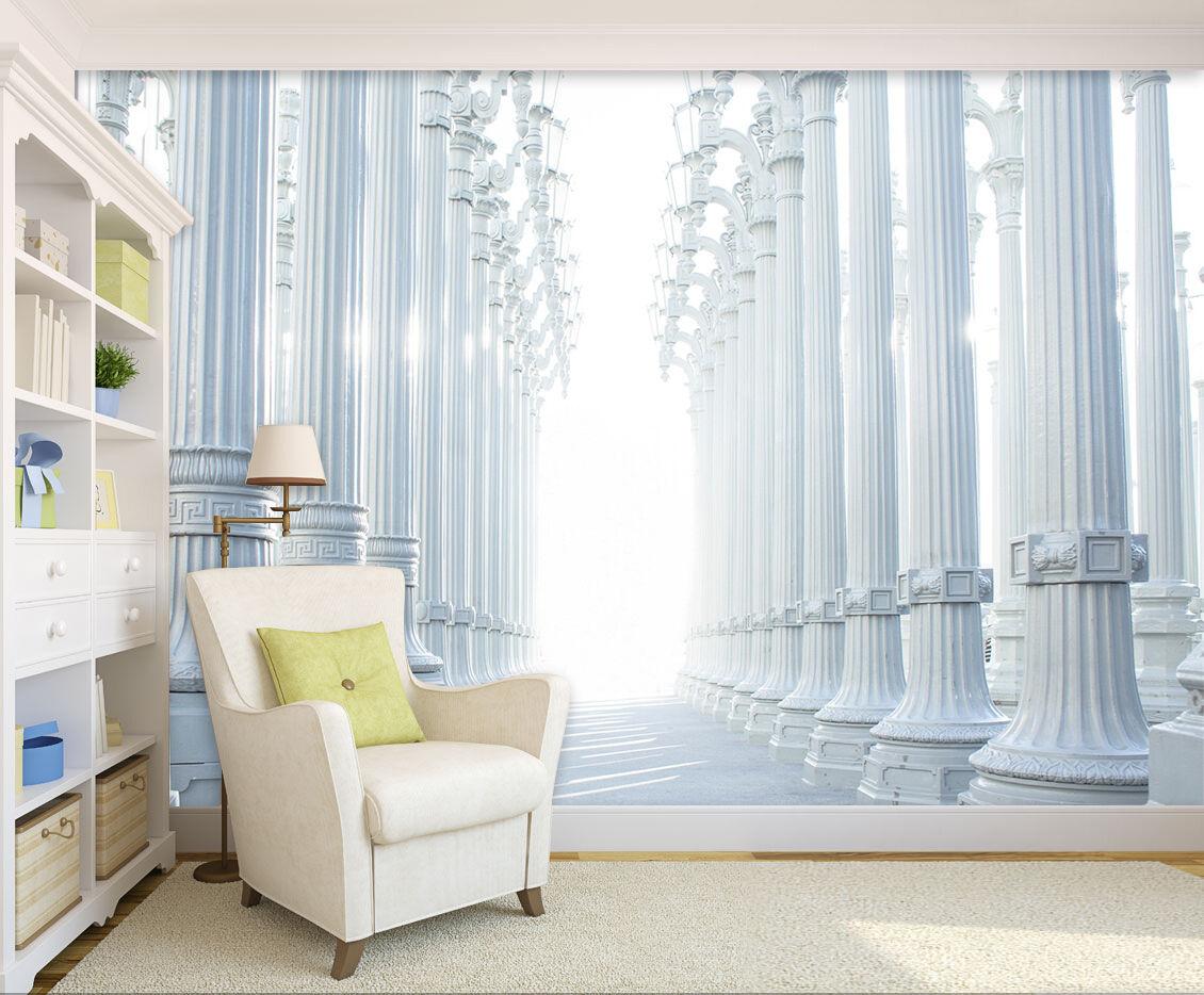3D Weiß high column corridor Wall Paper Print Decal Wall Deco Indoor wall Mural