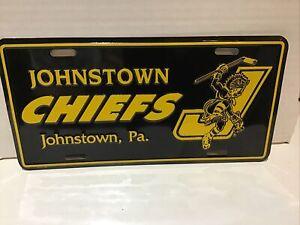 Johnstown Chiefs Vintage ECHL Hockey Front License Plate - Home Of Slap Shot