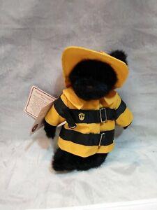 BOYDS-Fireman-Glen-TEDDY-BEAR-NEW-hard-to-find-black-fur