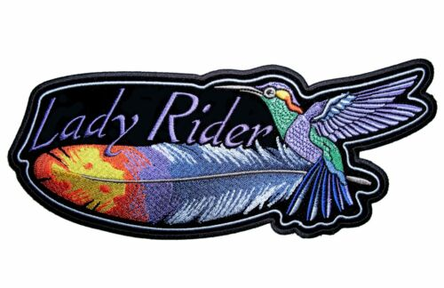 Lady Rider Hummingbird Feather Lady Biker Embroidered Patch Large FREE SHIP