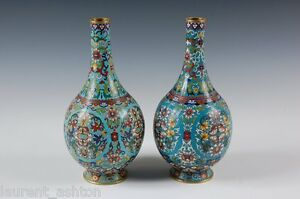 ASIAN-CHINESE-QING-DYNASTY-CLOISONNE-SCROLLING-LOTUS-TURQUOISE-GROUND-VASE-PAIR