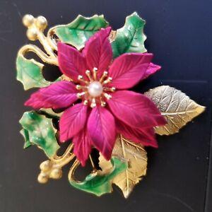 KC-Vintage-Holiday-Red-Fushia-Poinsettia-Holly-Christmas-Brooch-Goldtone-Enamel