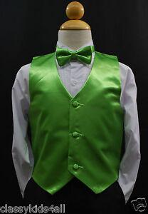 3f397d1cd Baby Boy Kids LIME GREEN VEST   BOW TIE CHILDREN Tuxedo Suit Sz (0M ...