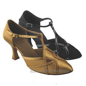 Womens-Ballroom-Salsa-Latin-Closed-Toe-Black-Tan-Dance-Shoes-S3801-Very-Fine