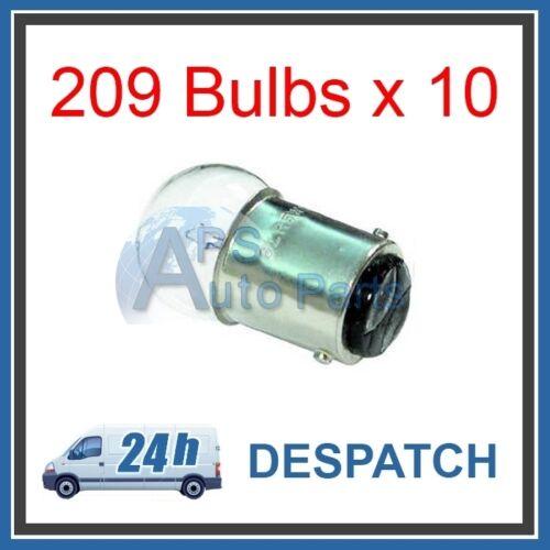 10x 209 12v 5w SBC BA15d Side Tail Bulb Double Contact Single Filament Car Van