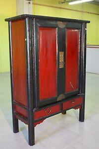 Armoire chinoise meuble en bois verni stipo avec deux porte style ...