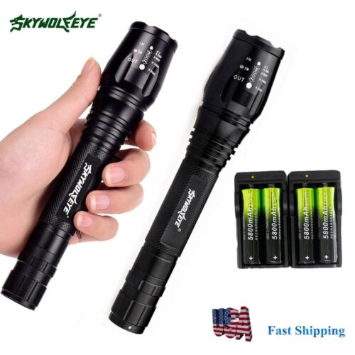2 Sets 20000lumens 5 Modes T6 LED Flashlight Torch Lamp+18650 battery+Charger US