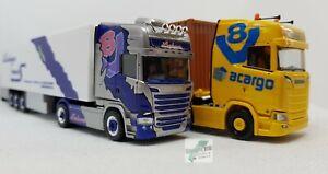 Herpa-SCANIA-Sattelzuege-Trucker-Babes-Pink-Lady-Lissy-und-Jana-Acargo-1-87-Neu