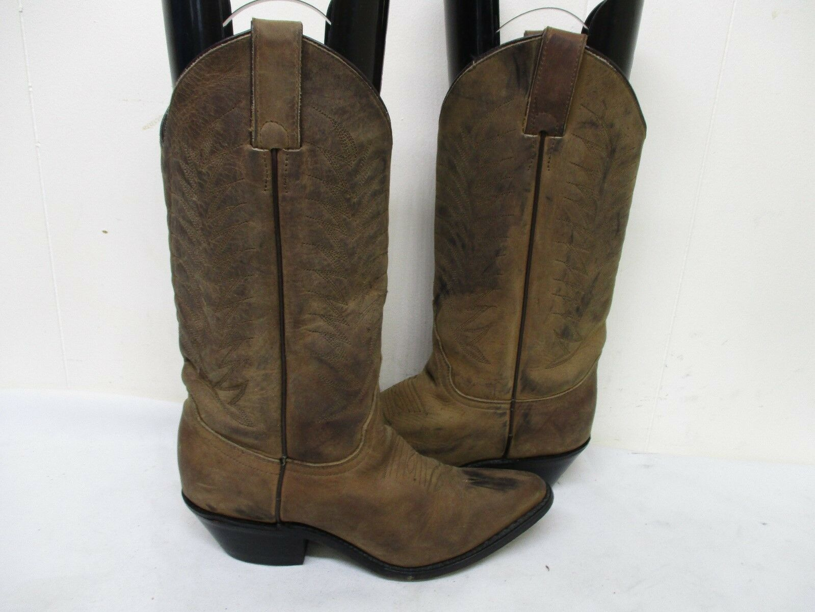 Diamond J Distressed Brown Leather Cowboy Boots Womens Size 5 B Style 51013L