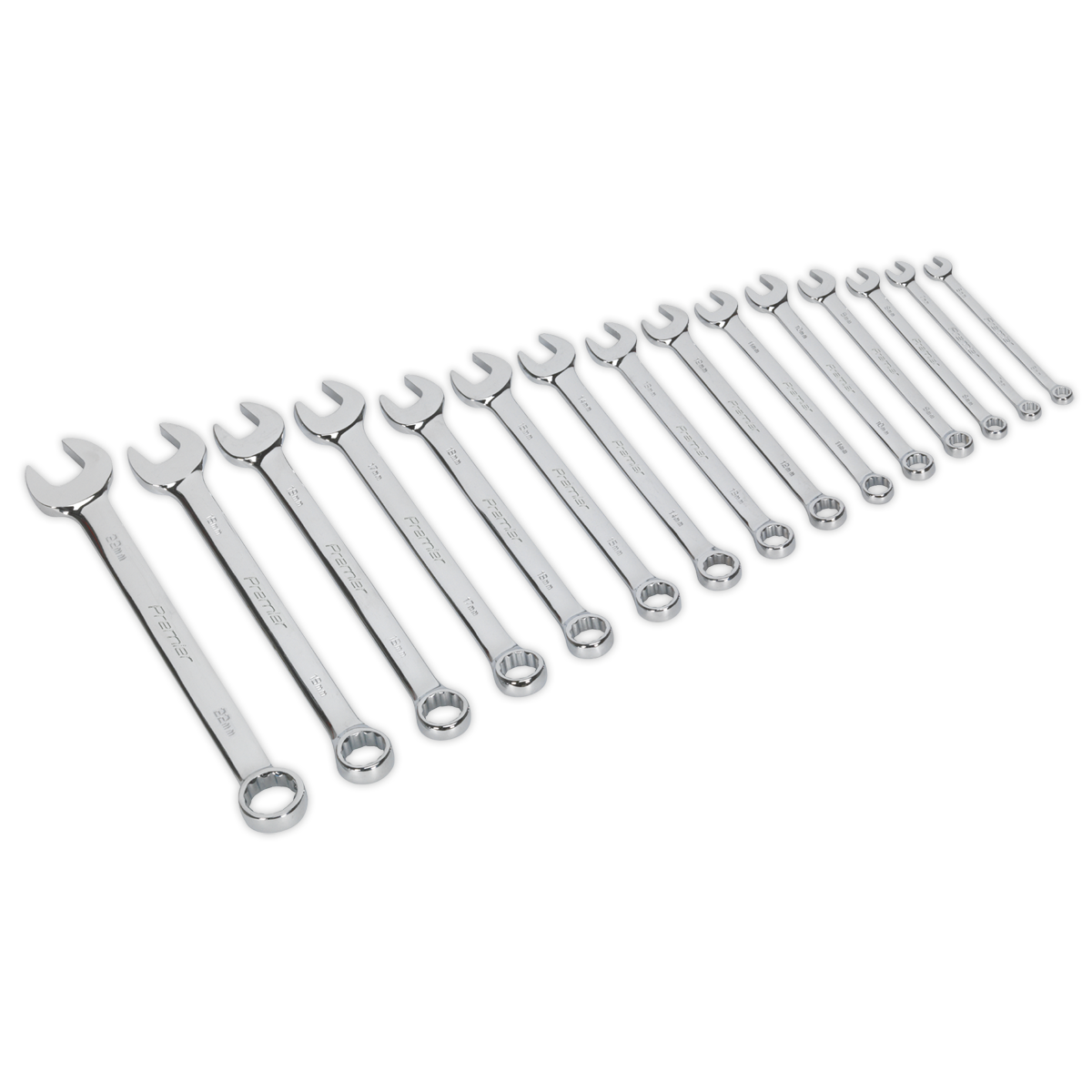Combination Spanner Set 15pc Metric   SEALEY AK63015 by Sealey   New