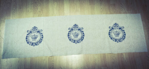 Cotton Fabric Price per 45 cm Shabby Chic Crown Natural LINEN
