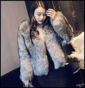 Womens-Silver-Fox-Fur-Coat-Warm-Hot-Short-Jacket-Round-Collar-Luxury-Outwear