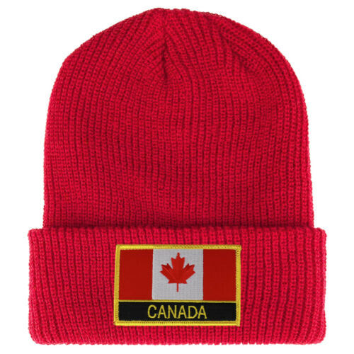 CANADA Flag Embroidered Patch Winter Ribbed Cuffed Knit Beanie FREE SHIPPING