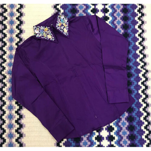 68282 Royal Highness  Ladies Zip Front Show Shirt with Studded Collar NEW