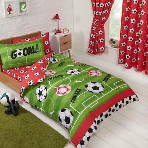 Football-Rouge-Housse-Couette-Simple-et-D-039-Oreiller-Set-Rideaux-Assortis-54-034