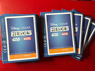 40 Cards New Sealed Sainsburys Disney Heroes Trading Cards 10 Packs