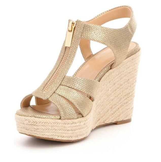 5439d7071b91 Michael Kors Berkley Metallic Platform Canvas Wedge Sandal Shoes 40s7brms1m