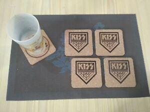 KISS-ARMY-4-CORK-DRINK-COASTERS-POSAVASOS-DE-CORCHO