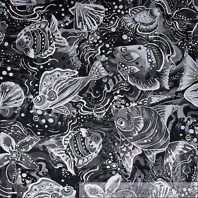 BonEful Fabric FQ Cotton Quilt Black White B/&W Gray Fish Stripe Dot Sea*shell NR