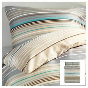 Ikea palmlilja duvet quilt cover beige turquoise stripe for Ikea bed covers sets queen