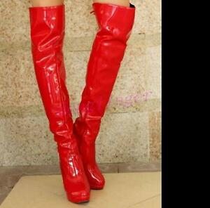 Clubnight-Womens-Patent-Leather-High-Heel-Over-Knee-Thigh-Boots-Stilettos-Shoes