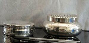 2-boites-poudriers-metal-argente-estampille-034-ORFEVRERIE-DE-FRANCE-034-pour-1boite