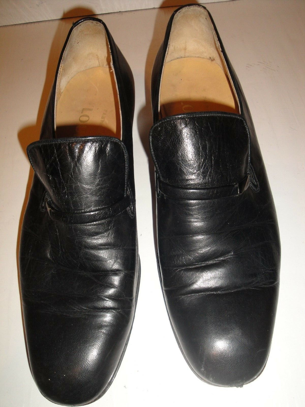 LOUIS NICE BLACK LEATHER VINTAGE LOAFER MENS SHOE SIZE 11 M    44