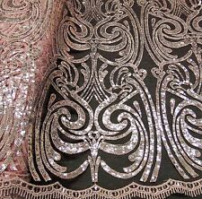 """Damask PEACH Sequin Mesh Polyester Lace dress Apparel Sewing fabric 52"""" wide"""