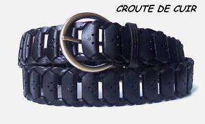 CEINTURE-HOMME-FEMME-CROUTE-DE-CUIR-NOIRE-TROUEE-BOUCLE-RONDE-DORE