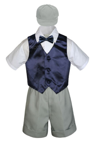 5pc Baby Boys Toddler Formal Vest Shorts Silver Suit Satin Vest Bow Tie Set S-4T