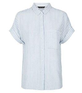 New Look Blue Stripe Pocket Front Short Sleeve Shirt UK 10 Blouse Button Up BNWT
