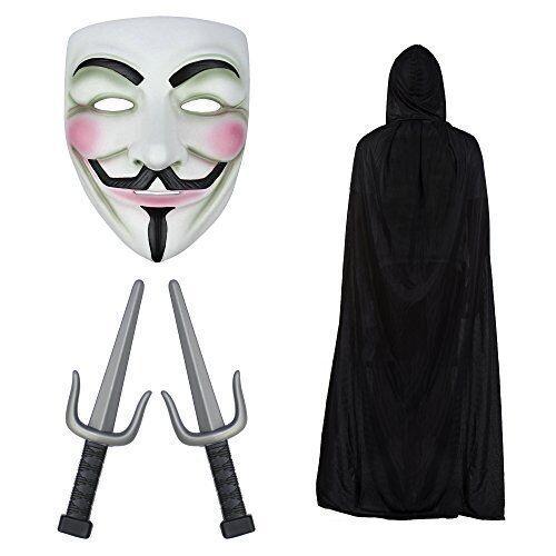 Anonymous Guy Fawkes Maschera ninja di stampa, coltelli e Mantello Halloween Set
