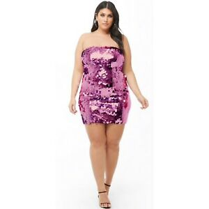 Details about Forever 21 Plus Size Sequin Sexy Tube Vegas Birthday Dress  Size 1X