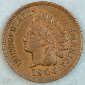 1904-Indian-Head-Cent-Vintage-Penny-Old-US-Coin-Liberty-Full-Rims-Fast-S-amp-H-36289