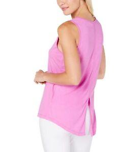 Ideology Women's Asymmetrical Sleeveless Split-Back Workout Tank Top Purple M