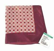 NWT $100 Ermenegildo Zegna Men's Dark Red Square Printed Silk Pocket Square AUTH