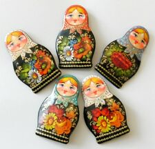 Russian Doll Lacquer Pin Brooch Matryoshka Hand Painted Papier Mache Signed Art