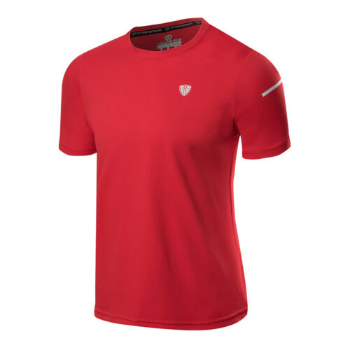 Mens Sport Workout T-Shirt Football Training Slim fit Tee Dry fit Top Round Neck