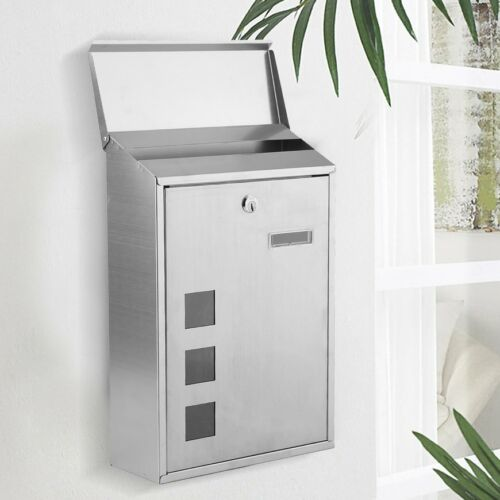 Large Outdoor Lockable Letterbox Post Box Mailbox Wall Mounted Secure Mails UK