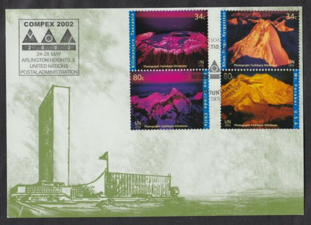 UNITED NATIONS FIRST DAY COVER 2002 INTERNATIONAL YEAR OF MOUNTAINS ON MAXI CARD