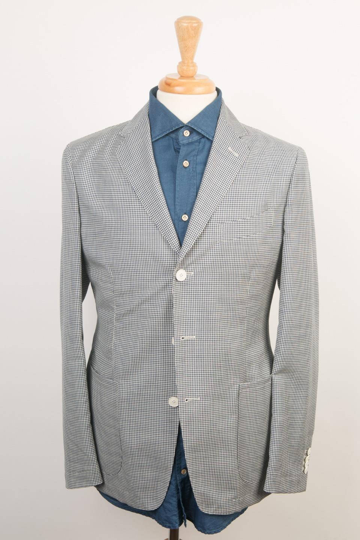 Boglioli NWT 'Maxton' Blau Weiß Check wolleLightweight Slim Sport Coat 48 IT 38